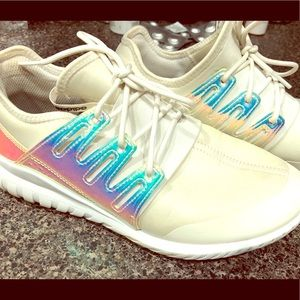 Adidas tubular iridescent shoes
